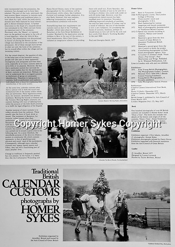 Traditional British Calendar Customs exhibition, one man show 1977 at the Arnolfini Gallery Bristol 1970s UK . This is the catalogue.