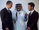 Chris Froome, Mr Aref Hamad Al Awani and Mark Cavendish at the UCI Gala Dinner held in the Yas Marina Hotel, Abu Dhabi. 11th October 2015.<br /> Picture: ANSA/Claudio Peri, Angelo Carconi | Newsfile