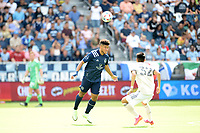 KANSAS CITY, KS - JUNE 26: Jaylin Lindsey #2 Sporting KC heads the ball during a game between Los Angeles FC and Sporting Kansas City at Children's Mercy Park on June 26, 2021 in Kansas City, Kansas.