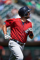 Columbus Clippers designated hitter Lonnie Chisenhall (8) runs to first during a game against the Buffalo Bisons on July 19, 2015 at Coca-Cola Field in Buffalo, New York.  Buffalo defeated Columbus 4-3 in twelve innings.  (Mike Janes/Four Seam Images)