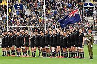 All Blacks sing the national anthem before the Bledisloe Cup - New Zealand v Australia at Sky Stadium, Wellington, New Zealand on Sunday 11 October 2020. <br /> Photo by Masanori Udagawa. <br /> www.photowellington.photoshelter.com