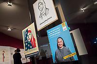 """Juedisches Museum zeigt Schau zu Peruecke, Burka und Ordenstracht.<br /> Das Juedische Museum Berlin widmet sich vom 31. Maerz 2017 an in einer Ausstellung der Verhuellung der Frau. Unter dem Titel """"Cherchez la femme. Peruecke, Burka, Ordenstracht"""" gehe die Schau der Frage auf den Grund, wie viel sichtbare Religiositaet saekulare Gesellschaften heute vertragen, kuendigte das Museum am Dienstag an.<br /> Auffallende religioese Kleidung von Frauen gelte oft als Provokation und sei verbalen Attacken ausgesetzt. Die Ausstellung werfe einen Blick auf die Urspruenge weiblicher Verschleierung und ihre religioesen Bedeutung fuer Judentum, Christentum und Islam.<br /> Auf 400 Quadratmetern werden bis zum 2. Juli die unterschiedlichen Einstellungen zum Umgang mit der weiblichen Verhuellung von Kopf und Koerper seit der Antike gezeigt. Dabei wird die Stellung der Frau zwischen Religion und Selbstbestimmung thematisiert - von der Tradition bis zum religioesen Feminismus. Kuenstlerische Arbeiten reflektieren den Angaben zufolge die Relevanz traditioneller Braeuche fuer die Gegenwart. In Video-Installationen kommen zudem juedische und muslimische Frauen aller Richtungen zu Wort.<br /> 30.3.2017, Berlin<br /> Copyright: Christian-Ditsch.de<br /> [Inhaltsveraendernde Manipulation des Fotos nur nach ausdruecklicher Genehmigung des Fotografen. Vereinbarungen ueber Abtretung von Persoenlichkeitsrechten/Model Release der abgebildeten Person/Personen liegen nicht vor. NO MODEL RELEASE! Nur fuer Redaktionelle Zwecke. Don't publish without copyright Christian-Ditsch.de, Veroeffentlichung nur mit Fotografennennung, sowie gegen Honorar, MwSt. und Beleg. Konto: I N G - D i B a, IBAN DE58500105175400192269, BIC INGDDEFFXXX, Kontakt: post@christian-ditsch.de<br /> Bei der Bearbeitung der Dateiinformationen darf die Urheberkennzeichnung in den EXIF- und  IPTC-Daten nicht entfernt werden, diese sind in digitalen Medien nach §95c UrhG rechtlich geschuetzt. Der Urhebervermerk wird gemaess §13 UrhG"""