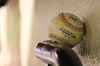 September 4, 2009:  An International League ball sits on the railing during a game at Frontier Field in Rochester, NY.  The Red Wings are the Triple-A International League affiliate of the Minnesota Twins.  Photo By Mike Janes/Four Seam Images