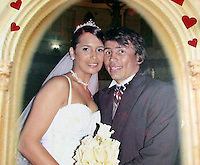 Happy times: a picture shows the wedding of Jennifer Carolina Viera de Valero and Venezuelan World Champion boxer Edwin Inca .Valero killed himself April 17th in a jail aftert being arrested for the murder of his wife.