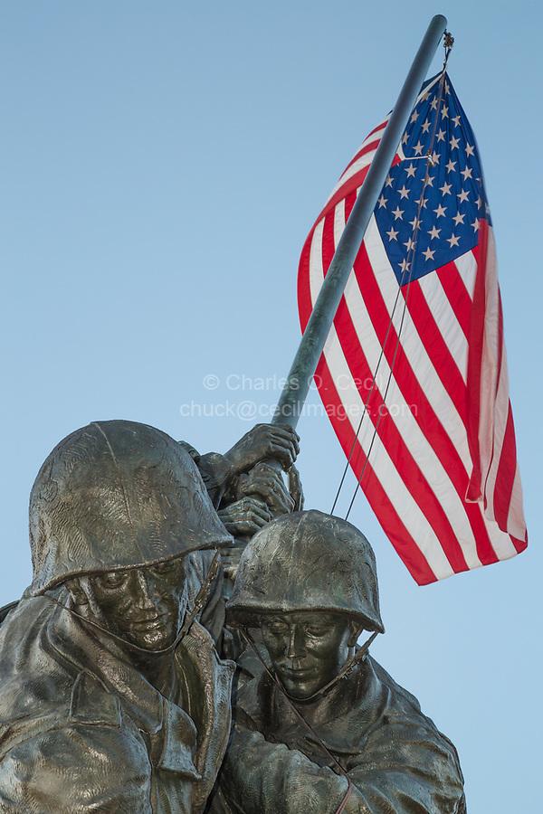 Arlington, Virginia.  Iwo Jima Memorial to the U.S. Marines by Felix Weihs de Weldon.  United States Marine Corps War Memorial.