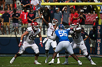 Arkansas quarterback KJ Jefferson (1) passes, Saturday, October 9, 2021 during the third quarter of a football game at Vaught Hemingway Stadium in Oxford, Miss. Check out nwaonline.com/211010Daily/ for today's photo gallery. <br /> (NWA Democrat-Gazette/Charlie Kaijo)