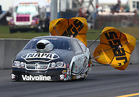 Oct 6, 2013; Mohnton, PA, USA; NHRA pro stock driver Vincent Nobile during the Auto Plus Nationals at Maple Grove Raceway. Mandatory Credit: Mark J. Rebilas-