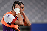 Dusan Vlahovic of ACF Fiorentina reacts during the warm up prior to Italy cup football match between ACF Fiorentina and Cosenza calcio at Artemio Franchi stadium in Florence (Italy), August 13th, 2021. ACF Fiorentina won 4-0 over Cosenza calcio. Photo Andrea Staccioli / Insidefoto
