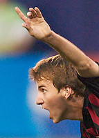 Mike Magee of the MetroStars celebrates scoring a goal in the 36th minute. The San Jose Earthquakes and the the NY/NJ MetroStars played to a 4-4 tie on 7/02/03 at Giant's Stadium, NJ..