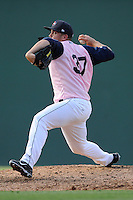 Pitcher Jonathan Aro (37) of the Greenville Drive in a game against the West Virginia Power on Sunday, May 11, 2014, at Fluor Field at the West End in Greenville, South Carolina. Greenville won, 9-6. (Tom Priddy/Four Seam Images)