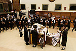 Israel, Bnei Brak. The Synagogue of the Premishlan congregation, Simchat Torah (on the eights day of Succot), the Rebbe and his Hasidim<br />
