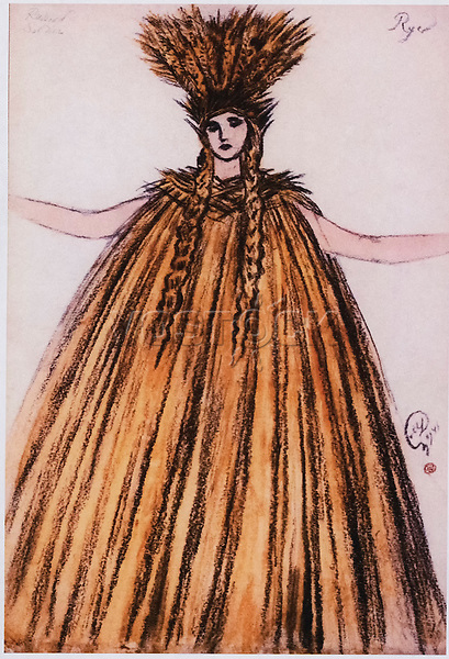 """A sketch of the costume of Paradise for the performance """"Russian Soldier"""".<br /> Artist Mstislav Dobuzhinsky.<br /> Metropolitan Opera, New York, January 23, 1941. Choreographer Mikhail Fokin. Private collection."""