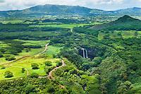 An aerial shot of famous Wailua Falls near Lihue, Kaua'i.