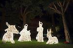 Spain, Canary Islands, La Palma, Los Llanos de Aridane: christmas scene, nativity set, illuminated