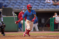 Clearwater Threshers Luis García (5) bats during a game against the Lakeland Flying Tigers on May 5, 2021 at BayCare Ballpark in Clearwater, Florida.  (Mike Janes/Four Seam Images)
