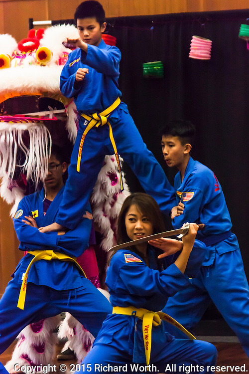 A martial arts demonstration ends with flare - presented by members of  the Vovinam Viet-Do-Dao of San Jose during a Lunar New Year celebration at the San Leandro Main Library.