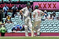 10th January 2021; Sydney Cricket Ground, Sydney, New South Wales, Australia; International Test Cricket, Third Test Day Four, Australia versus India; Cameron Green and Tim Paine of Australia during a break