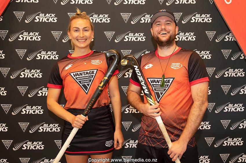 Liz Thompson and Leon Hayward. Hockey Premier League Official Launch, Auckland Grammar Hockey Turf, Auckland, New Zealand. Photo: Simon Watts/www.bwmedia.co.nz/HockeyNZ