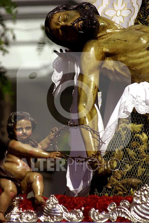 Cofradia de los  Servitas, de la Capilla de los Dolores.  Semana Santa. Pasos. Procesiones..Sevilla, Andalucia, Espana.