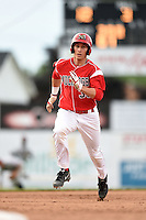 Batavia Muckdogs first baseman Eric Fisher (33) running the bases during a game against the Mahoning Valley Scrappers on June 20, 2014 at Dwyer Stadium in Batavia, New York.  Batavia defeated Mahoning Valley 7-4.  (Mike Janes/Four Seam Images)