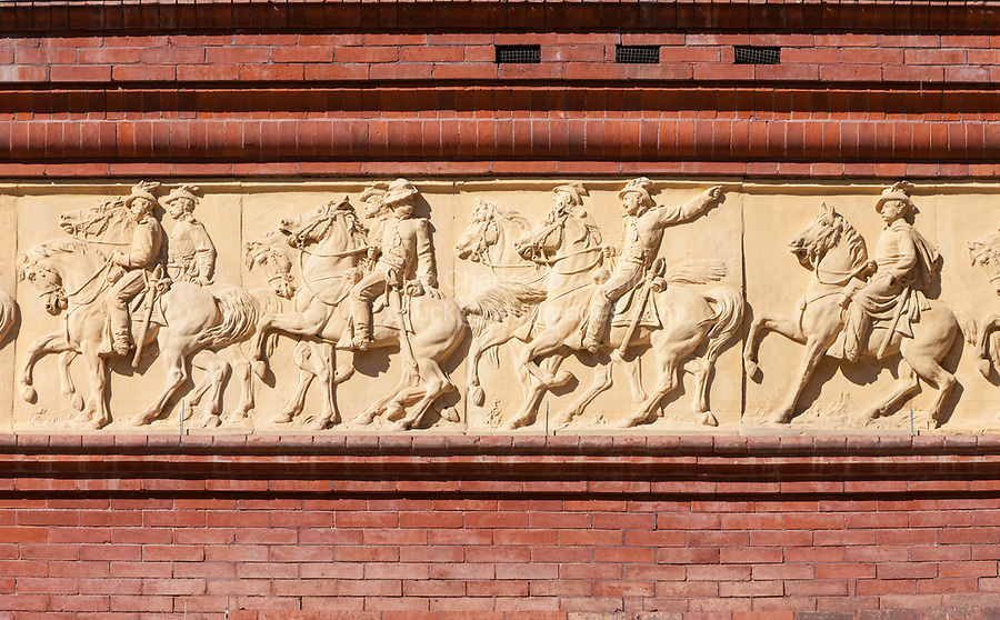 Washington, DC.  National Building Museum, Terra Cotta Frieze of Civil War Military Figures by Caspar Buberl  Dating from 1883.