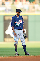 Gwinnett Braves shortstop Elmer Reyes (2) on defense against the Charlotte Knights at BB&T Ballpark on August 19, 2014 in Charlotte, North Carolina.  The Braves defeated the Knights 10-5.   (Brian Westerholt/Four Seam Images)