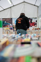 Thursday 22 May 2014<br /> Pictured: A man browses through second hand books  during the first day of the Hay Festival <br /> Re: Hay Festival takes place at Hay on Wye, Powys, Wales