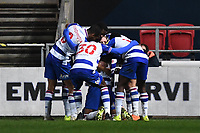 16th February 2021; Ashton Gate Stadium, Bristol, England; English Football League Championship Football, Bristol City versus Reading; Michael Morrison of Reading celebrates with his team after scoring in the 45th minute 0-2