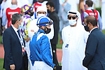 March 27 2021: Scenes from the post parade for the Dubai Kahayla Classic at Meydan Racecourse, Dubai, UAE. Shamela Hanley/Eclipse Sportswire/CSM