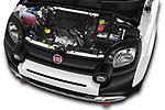 Car Stock 2017 Fiat Panda Cross 5 Door SUV Engine  high angle detail view