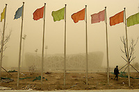 Sandstorm hits construction site of National Stadium for Beijing 2008 Olympic Games in Beijing, China. 18-Mar-2008