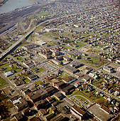 Y-680228B-06.  Aerial view of Emanuel Hospital and the heart of the Black business district in inner N and NE Portland, Oregon. Most of this was demolished for a proposed hospital expansion, which lost its funding. February 28, 1968.