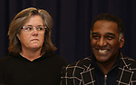 """Rosie O'Donnell and Norm Lewis during """"The Music Man"""" Media Day Rehearsal at the New 42nd Street Studios on January 24, 2019 in New York City."""