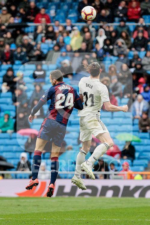 Real Madrid's Gareth Bale and SD Eibar's Joan Jordan during La Liga match between Real Madrid and SD Eibar at Santiago Bernabeu Stadium in Madrid, Spain.April 06, 2019. (ALTERPHOTOS/A. Perez Meca)