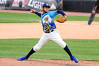 Wisconsin Timber Rattlers pitcher Rodrigo Benoit (35) delivers a pitch during a Midwest League game against the Great Lakes Loons on May 12, 2018 at Fox Cities Stadium in Appleton, Wisconsin. Wisconsin defeated Great Lakes 3-1. (Brad Krause/Four Seam Images)
