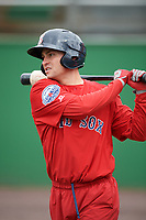 Salem Red Sox Nick Lovullo (20) during practice before the first game of a doubleheader against the Potomac Nationals on May 13, 2017 at G. Richard Pfitzner Stadium in Woodbridge, Virginia.  Potomac defeated Salem 6-0.  (Mike Janes/Four Seam Images)
