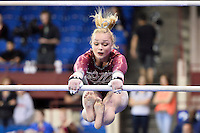 Alabama's Kaitlyn Clark competes on the uneven bars during the semifinals of the NCAA women's gymnastics championships, Friday, April 17, 2015 in Fort Worth, Tex.(Mo Khursheed/TFV Media via AP Images)