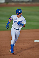 Jakob Goldfarb (23) of the Ogden Raptors trots to third base against the Grand Junction Rockies at Lindquist Field on June 5, 2021 in Ogden, Utah. The Raptors defeated the Rockies 18-1. (Stephen Smith/Four Seam Images)