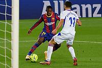 29th December 2020; Camp Nou, Barcelona, Catalonia, Spain; La Liga Football, Barcelona versus Eibar;  Ousmane Dembele FC Barcelona breaks past Rafa Soares SD EIbar defender towards goal