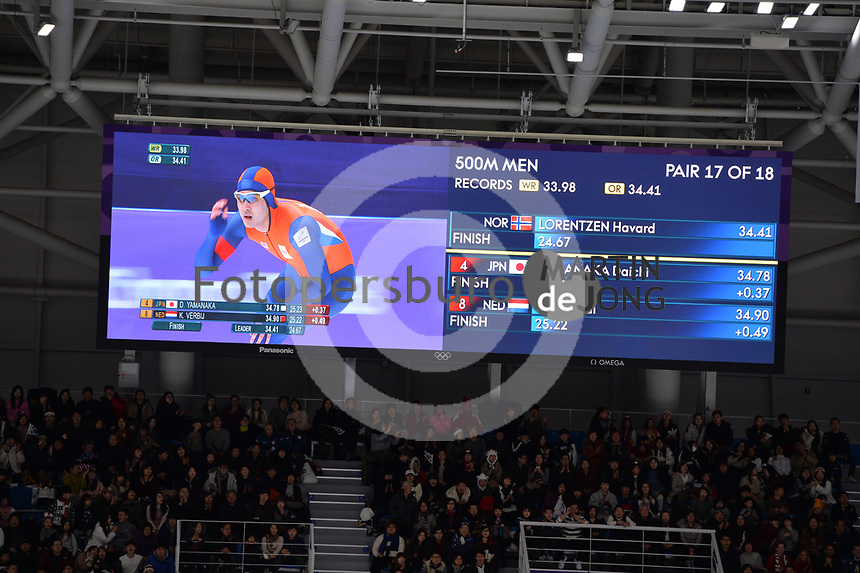 OLYMPIC GAMES: PYEONGCHANG: 19-02-2018, Gangneung Oval, Long Track, 500m Men, Kai Verbij (NED), ©photo Martin de Jong