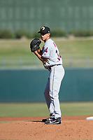 Glendale Desert Dogs starting pitcher Justin Garza (34), of the Cleveland Indians organization, gets ready to deliver a pitch during an Arizona Fall League game against the Surprise Saguaros at Surprise Stadium on November 13, 2018 in Surprise, Arizona. Surprise defeated Glendale 9-2. (Zachary Lucy/Four Seam Images)