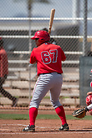 Los Angeles Angels first baseman Angel Molina (67) during a Minor League Spring Training game against the Cincinnati Reds at the Cincinnati Reds Training Complex on March 15, 2018 in Goodyear, Arizona. (Zachary Lucy/Four Seam Images)