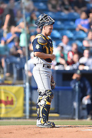 Columbia Fireflies catcher Pat Mazeika (2) during a game against the Asheville Tourists at McCormick Field on June 18, 2016 in Asheville, North Carolina. The Tourists defeated the Fireflies 5-4. (Tony Farlow/Four Seam Images)