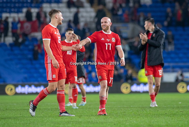 Cardiff - UK - 9th September :<br />Wales v Belarus Friendly match at Cardiff City Stadium.<br />Jonny Williams of Wales celebrates at full time with Tom Lockyer.<br />Editorial use only