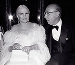 Peggy Lee and Sammy Cahn attend the  Friars Club honored Cary Grant as their Man of the Year on May 16, 1982 at the Waldorf Astoria in New York City.