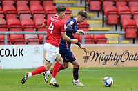 Blackpool's Ethan Robson under pressure from Crewe Alexandra's Ryan Wintle<br /> <br /> Photographer Rich Linley/CameraSport<br /> <br /> The EFL Sky Bet League One - Crewe Alexandra v Blackpool - Saturday 17th October 2020 - Gresty Road - Crewe<br /> <br /> World Copyright © 2020 CameraSport. All rights reserved. 43 Linden Ave. Countesthorpe. Leicester. England. LE8 5PG - Tel: +44 (0) 116 277 4147 - admin@camerasport.com - www.camerasport.com