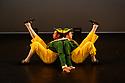 London, UK. 14.02.20. Elmhurst Ballet Company, the graduate company from Elmhurst Ballet School, perform in the dress rehearsal of 'Synergy' at the Lilian Baylis Studio, Sadler's Wells. The piece shown is: Tweedledum and Tweedledee, choreographed by Sir Frederick Ashton. The dancers are: Jennifer Beattie (Alice), Joshua Dart and Jakob Myers (Tweedledum and Tweedledee). Photograph © Jane Hobson.