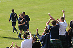 Faroe Islands 0 Scotland 2, 06/06/2007. Svangaskard, Toftir, Euro 2008 Qualifying. Scotland fans celebrating as Garry O'Conner is congratulated by teammates on scoring the second goal as the Faroe Islands take on Scotland in a Euro 2008 group B qualifying match at the Svangaskard stadium in Toftir. The visitors won the match by 2 goals to nil to stay in contention for a place at the European football championships which were to be held in Switzerland and Austria in the Summer of 2008. It was the first time Scotland had won in the Faroes, the previous two matches ended in draws. Photo by Colin McPherson.