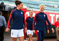 Jacksonville, FL - Thursday April 5, 2018: Carli Lloyd, Megan Rapinoe during an International friendly match versus the women's National teams of the United States (USA) and Mexico (MEX) at EverBank Field.