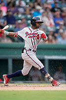 Third baseman Kevin Josephina (2) of the Rome Braves in a game against the Greenville Drive on Friday, August 6, 2021, at Fluor Field at the West End in Greenville, South Carolina. (Tom Priddy/Four Seam Images)